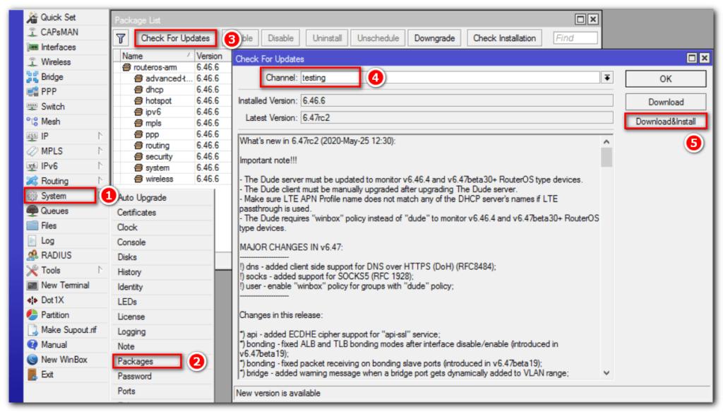 Автоматическая установка пакетов RouterOS
