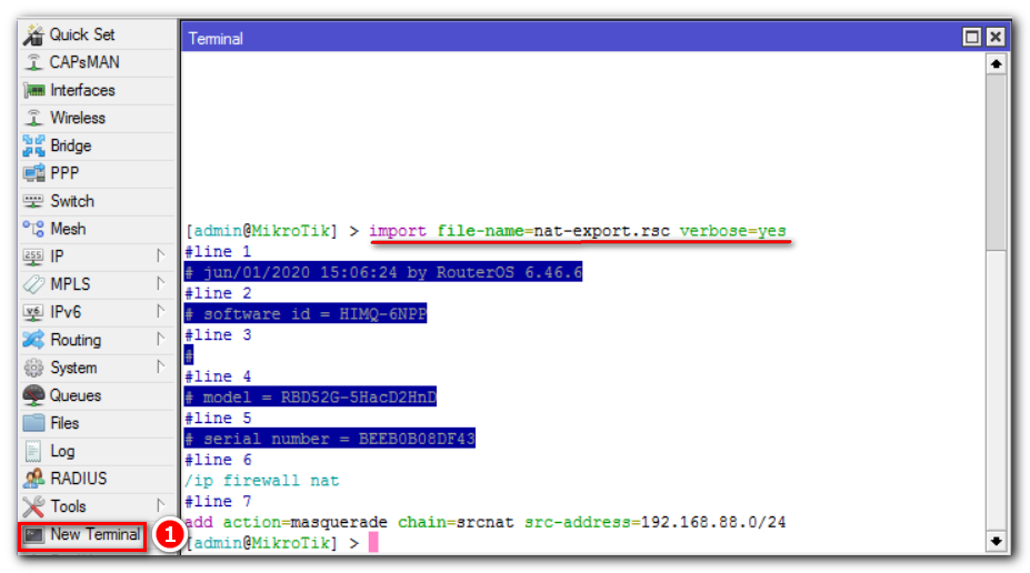 Восстановление настроек MIkrotik командой import, с ключом verbose.