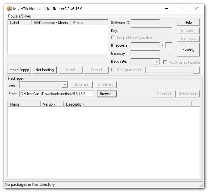 MikroTik Netinstall for RouterOS.