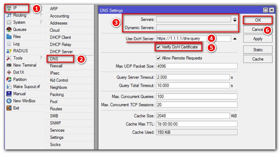 Использовать DoH Cloudflare Server