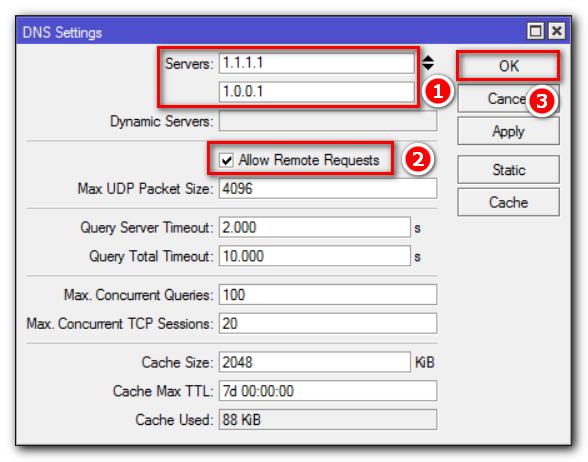 Настройка вышестоящих DNS. Разрешить обрабатывать удаленные запросы.
