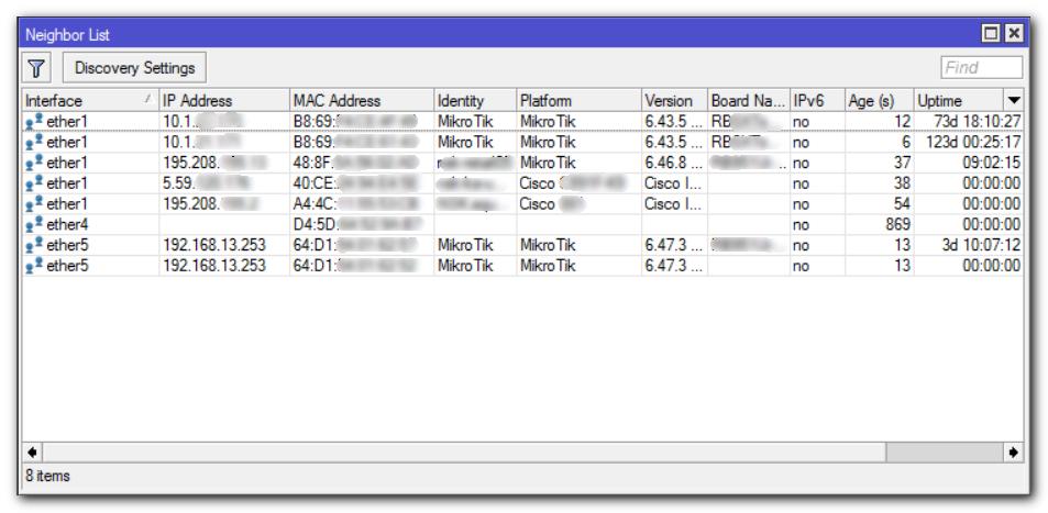 Обнаруженные устройства поддерживающие MNDP