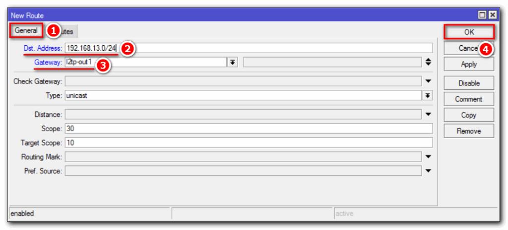 MikroTik L2TP IPSec маршрутизация. Добавление маршрута до главного офиса
